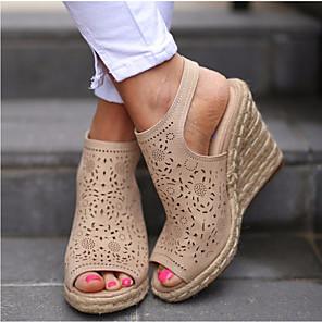cheap Women's Sandals-Women's Sandals Wedge Sandals Summer Wedge Heel Peep Toe Daily PU Beige