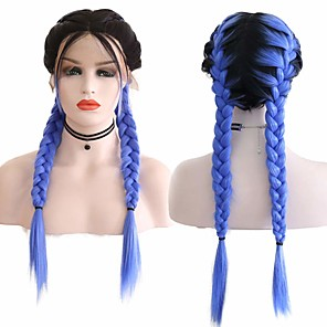 cheap Synthetic Trendy Wigs-Synthetic Lace Front Wig Box Braids Middle Part with Baby Hair Lace Front Wig Ombre Long Ombre Blue Synthetic Hair 18-26 inch Women's Soft Adjustable Party Blue Ombre