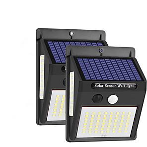 cheap Indoor IP Network Cameras-2pcs 10 W Outdoor Wall Lights / Solar Wall Light Waterproof / Solar Powered / New Design White 3.7 V Outdoor Lighting / Garden 100 LED Beads