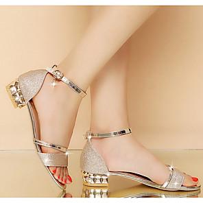 cheap Women's Sandals-Women's Sandals Summer Block Heel Peep Toe Daily PU Gold / Silver
