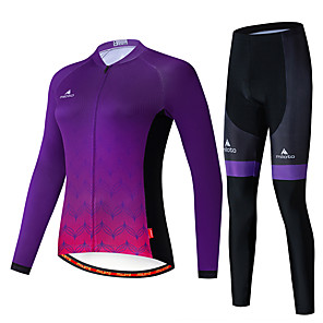 cheap Cycling Jersey & Shorts / Pants Sets-Miloto Women's Long Sleeve Cycling Jersey with Tights Purple Bike Breathable Sports Patterned Mountain Bike MTB Road Bike Cycling Clothing Apparel / Stretchy
