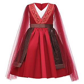 cheap Movie & TV Theme Costumes-Princess Mulan Dress Flower Girl Dress Girls' Movie Cosplay A-Line Slip Red Dress Children's Day Masquerade Tulle Polyester