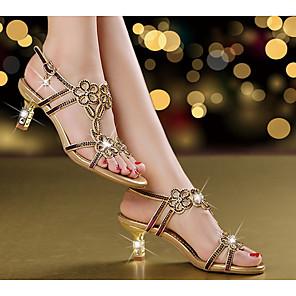 cheap Women's Sandals-Women's Sandals Leather Sandals Summer Stiletto Heel Open Toe Daily Leather Purple / Gold / Blue