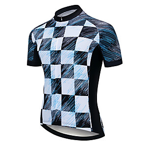 cheap Cycling Jerseys-21Grams Men's Short Sleeve Cycling Jersey Black / White Bike Jersey Top Mountain Bike MTB Road Bike Cycling UV Resistant Breathable Quick Dry Sports Clothing Apparel / Stretchy