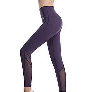 cheap Exercise, Fitness & Yoga Clothing-Women's High Waist Yoga Pants Patchwork Hidden Waistband Pocket Cropped Leggings Butt Lift 4 Way Stretch Breathable Black Blue Gray Nylon Mesh Gym Workout Running Fitness Sports Activewear High