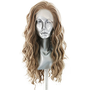 cheap Synthetic Trendy Wigs-Synthetic Lace Front Wig Wavy Body Wave Free Part Lace Front Wig Long Flaxen Synthetic Hair 18-26 inch Women's Soft Elastic Women Brown / Glueless