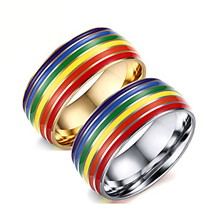 cheap Costumes Jewelry-Ring Rainbow Steel Stainless For LGBT Pride Cosplay Men's Costume Jewelry Fashion Jewelry