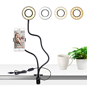 cheap Action Cameras-Photo Studio Selfie LED Ring Light with Cell Phone Mobile Holder for Youtube Live Stream Makeup Camera Lamp for iPhone Android TikTok
