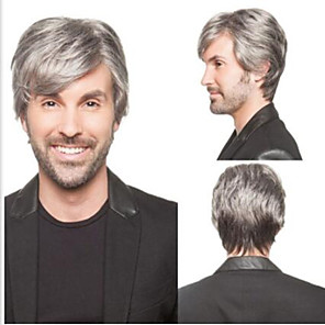 cheap Synthetic Trendy Wigs-Synthetic Wig Matte Natural Straight Layered Haircut Wig Short Grey Synthetic Hair 65 inch Men's Party New Hot Sale Gray