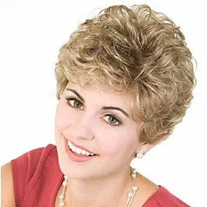 cheap Synthetic Trendy Wigs-Synthetic Wig Curly Matte Short Bob Wig Short Light golden Synthetic Hair 6 inch Women's Best Quality curling Fluffy Blonde