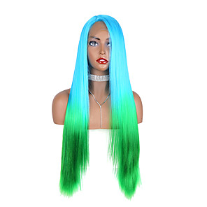 cheap Synthetic Lace Wigs-Synthetic Lace Front Wig Straight Yaki Straight Middle Part Free Part Glueless Lace Front Lace Front Wig Long Medium Length Lake Green / Grass Green Synthetic Hair 24-26 inch Women's Designs New