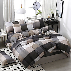 cheap Duvet Covers-Simple wind-printed plaid mosaic pattern bedding four-piece set quilt sheet pillow cover dormitory single double