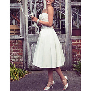cheap Girls' Dresses-A-Line Wedding Dresses Strapless Tea Length Taffeta Half Sleeve Sleeveless Vintage Sexy Wedding Dress in Color with Pleats Ruched Crystal Brooch 2020