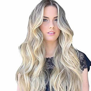 cheap Synthetic Trendy Wigs-Synthetic Wig Matte Body Wave Middle Part Wig Long Light golden Synthetic Hair 26 inch Women's Middle Part curling Fluffy Blonde