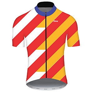 cheap Cycling Jerseys-21Grams Men's Short Sleeve Cycling Jersey Spandex Polyester Orange+White Bike Jersey Top Mountain Bike MTB Road Bike Cycling UV Resistant Breathable Quick Dry Sports Clothing Apparel / Stretchy