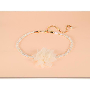 cheap Party Sashes-Chiffon Wedding / Party / Evening Sash With Imitation Pearl / Belt / Appliques Women's Sashes