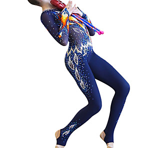cheap Volleyball-21Grams Rhythmic Gymnastics Leotards Artistic Gymnastics Leotards Women's Girls' Kids Leotard Spandex High Elasticity Handmade Long Sleeve Competition Dance Rhythmic Gymnastics Artistic Gymnastics