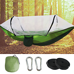 cheap Sleeping Bags & Camp Bedding-Camping Hammock with Pop Up Mosquito Net Outdoor Portable Breathable Anti-Mosquito Ultra Light (UL) Wearable Parachute Nylon with Carabiners and Tree Straps for 2 person Camping / Hiking Hunting