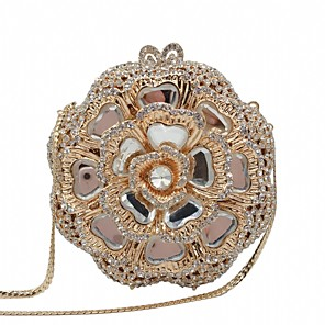 cheap Clutches & Evening Bags-Women's Crystals / Hollow-out Alloy Evening Bag Solid Color Gold / Light Gold