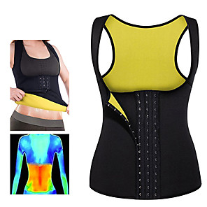 cheap Tattoo Stickers-Body Shaper Hot Sweat Workout Tank Top Slimming Vest Sweat Waist Trainer Corset Sports Neoprene Yoga Exercise & Fitness Fitness No Zipper Adjustable D-Ring Buckle Weight Loss Strengthens Muscle Tone