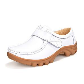 cheap Women's Heels-Women's Oxfords Spring & Summer Low Heel Round Toe Daily PU White / Black