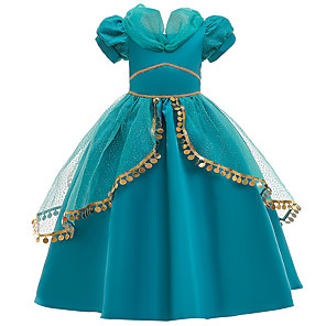 cheap Movie & TV Theme Costumes-Princess Princess Jasmine Dress Flower Girl Dress Girls' Movie Cosplay A-Line Slip Green Dress Children's Day Masquerade Tulle Sequin Cotton