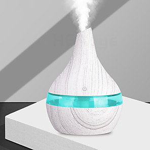 cheap Humidifiers-300ml USB White Wood air Humidifier Aromatherapy 7 Color LED Light Electric Aroma Essential Oil Diffuser cool mist maker