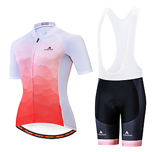 cheap Cycling Jersey & Shorts / Pants Sets-Miloto Women's Short Sleeve Cycling Jersey with Bib Shorts White Black Bike Breathable Sports Patterned Mountain Bike MTB Road Bike Cycling Clothing Apparel / Stretchy