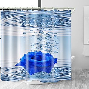 cheap Shower Curtains-Blue Rose in Water Digital Print Waterproof Fabric Shower Curtain for Bathroom Home Decor Covered Bathtub Curtains Liner Includes with Hooks