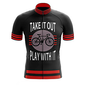 cheap Cycling Jerseys-21Grams Men's Short Sleeve Cycling Jersey Polyester Black / Red Stripes Bike Jersey Top Mountain Bike MTB Road Bike Cycling UV Resistant Breathable Quick Dry Sports Clothing Apparel / Stretchy