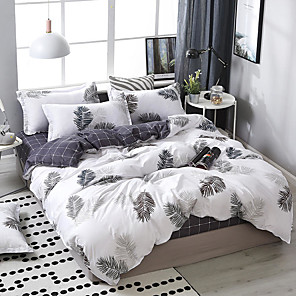 cheap Duvet Covers-Simple wind leaf printing pattern bedding four-piece quilt cover bed sheet pillow cover dormitory single double