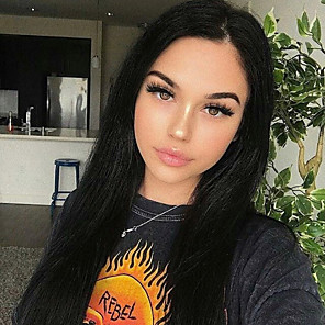 cheap Synthetic Lace Wigs-Synthetic Lace Front Wig Straight Gaga Middle Part Lace Front Wig Long Black#1B Synthetic Hair 22-26 inch Women's Heat Resistant Women Hot Sale Black / Glueless