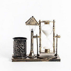 cheap Tabletop Picture Frames-Creative retro hourglass night light nostalgic pen holder quicksand desktop decoration (3pcs button battery lr41 included)