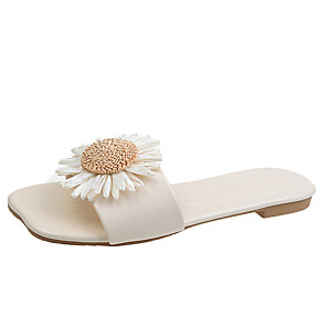 cheap Women's Sandals-Women's Slippers & Flip-Flops 2020 Spring &  Fall / Spring & Summer Flat Heel Open Toe Casual Sweet Daily Outdoor PU Yellow / Red / Black