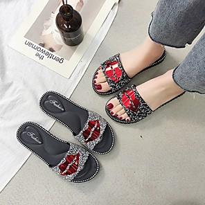 cheap Women's Sandals-Women's Slippers & Flip-Flops Summer Flat Heel Open Toe Daily PU Black / Gold / Silver