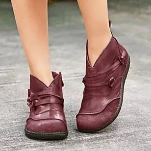 cheap Women's Boots-Women's Boots Flat Heel Round Toe Daily PU Mid-Calf Boots Black / Burgundy / Blue