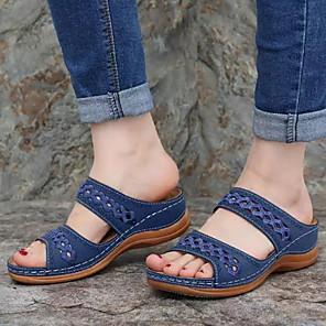 cheap Women's Sandals-Women's Sandals Wedge Sandals Summer Wedge Heel Open Toe Daily PU Black / Yellow / Red