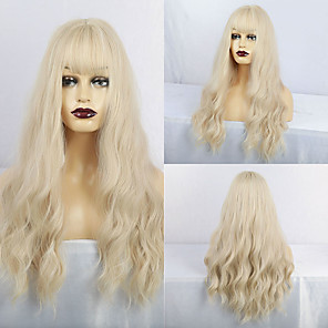 cheap Synthetic Trendy Wigs-Synthetic Wig Matte Water Wave Middle Part Neat Bang Wig Long Yellow Synthetic Hair 26 inch Women's Cute curling Fluffy Yellow