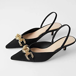 cheap Women's Sandals-Women's Sandals Summer Stiletto Heel Closed Toe Daily PU Black / Red