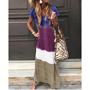 cheap Maxi Dresses-Women's Shift Dress Maxi long Dress - Short Sleeves Color Block Summer Casual Chinoiserie 2020 Wine Blue Purple Green S M L XL XXL
