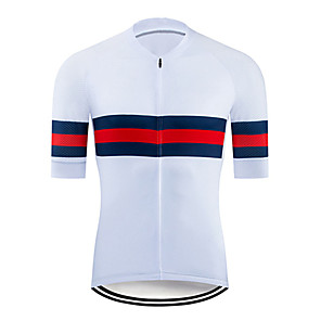 cheap Cycling Jerseys-21Grams Men's Short Sleeve Cycling Jersey Polyester Red / White Stripes Bike Jersey Top Mountain Bike MTB Road Bike Cycling UV Resistant Breathable Quick Dry Sports Clothing Apparel / Stretchy