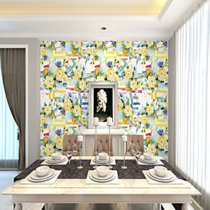 cheap Wallpaper-Custom self-adhesive mural wallpaper yellow flowers suitable for bedroom living room wall decoration Art Deco Home Decoration Modern Wall Covering Canvas Material