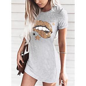 cheap Women's Sandals-Women's T Shirt Dress Short Mini Dress - Short Sleeves Floral Summer Casual 2020 Black Blushing Pink Orange Gray S M L XL XXL
