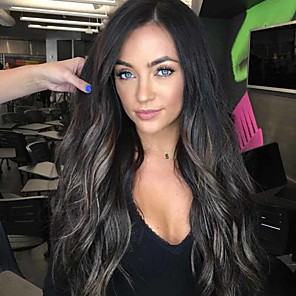 cheap Synthetic Trendy Wigs-Synthetic Wig Curly Middle Part Wig Very Long Black / Brown Synthetic Hair 26 inch Women's Ombre Hair curling Fluffy Ombre