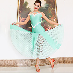 cheap Ballroom Dancewear-Ballroom Dance Dress Split Joint Women's Training Performance Long Sleeve Mesh Polyester