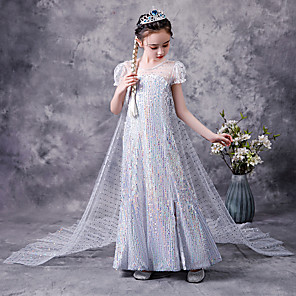 cheap Movie & TV Theme Costumes-Princess Elsa Dress Flower Girl Dress Girls' Movie Cosplay A-Line Slip White Dress Children's Day Masquerade Tulle Polyester Sequin