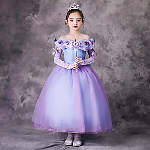 cheap Movie & TV Theme Costumes-Princess Rapunzel Dress Flower Girl Dress Girls' Movie Cosplay A-Line Slip Purple Dress Children's Day Masquerade Tulle Polyester