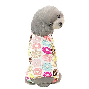 cheap Dog Clothes-Dog Jumpsuit Pajamas Geometic Animal Fruit Casual / Daily Dog Clothes Yellow Light Green Pink Costume Cotton S M L XL XXL