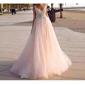 cheap Bridesmaid Dresses-A-Line Wedding Dresses V Neck Court Train Lace Tulle Sleeveless Country Beach Sexy Wedding Dress in Color with Embroidery 2020