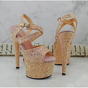 cheap Women's Sandals-Women's Heels Glitter Crystal Sequined Jeweled Spring & Summer Stiletto Heel Pointed Toe Daily PU Light Pink